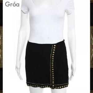 GRÓA Super Cute Blk/Gold Studded Slit Mini Skirt